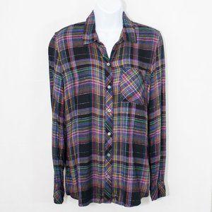 Gap Drapey Flannel Shirt Black Plaid Top S 0304X